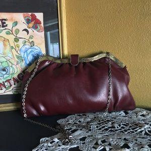 Vintage burgundy leather clutch/shoulder bag